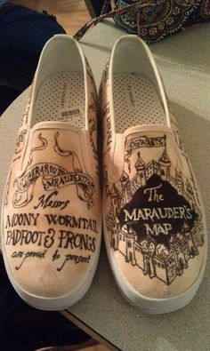 Harry Potter Marauder's Map shoes! @Danielle Lampert Nelson you need these in your life!!!