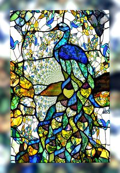 Peacock stained glass art