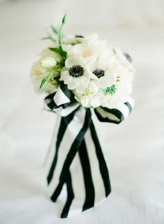 Black and white bridal bouquet {Photo by Taylor Lord via Project Wedding}
