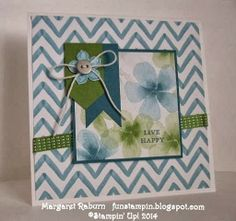 Fun Stampin' with Margaret!  CCMC289 sketch, Watercolor Wonder DSP, Petite Petals and Punch, sm. Basic Metal Button, Gumball Green Satin Sti...