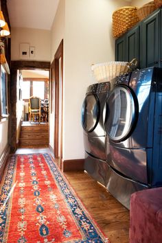 Dark blue cabinets for the laundry room