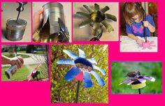 Lata reciclada flor p alimentar aves