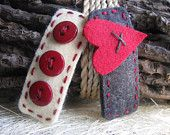 Wool Felt Hair Clips, Barnyard Red Heart on Licorice Grey, Trio of Small Red Buttons on Cream