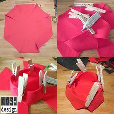 orecchini e gioielli 1129design - ispirazioni e divagazioni: Idea regalo fai da te facile ed economica: cestino rosso in feltro