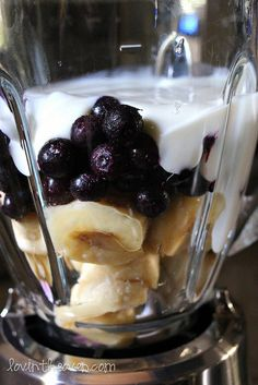 1 cup frozen blueberries      2 frozen bananas, sliced      1 cup of vanilla yogurt      splash of milk      3-4 ice cubes    Throw everything into a blender and mix until desired consistency. You can add more milk if you don't want it as thick.