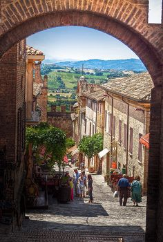 The main street of the medieval walled village of Gradara in Italy