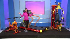 FROM ONE-STOP FITNESS SHOP GYMSTORE.COM COMES THIS INDOOR CYCLE WITH A 38 POUND FLYWHEEL AND EASY-TO-USE HANDLEBARS, A TREADMILL WITH INTERACTIVE HEART CHART AND CONSTANT PULSE DETECTION, PLUS AN ADJUSTABLE STRENGTH TRAINING SYSTEM. IT'S A PRIZE WORTH $14,382! #PriceIsRight #colorful #treadmill #bike #homegym #fitness