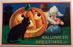 "Vintage Halloween Cards | Vintage Halloween Postcard ""BARTON & SPOONER"" BS // postcard ..."