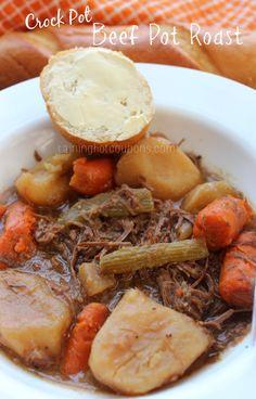 Crock Pot Beef Pot Roast ◾2-3 lbs Beef Roast ◾1/4 cup Flour ◾3/4 cup water ◾3 tbsp Vegetable Oil ◾4 cloves chopped garlic ◾1 quartered onion ◾1 tbsp Worcestershire Sauce ◾1 tsp Salt ◾2 tsp Black Pepper ◾1 tsp crushed Red Pepper Flakes ◾1 tbsp Beef Base ◾1 lb Carrots cut in thirds ◾1 1/2 lb Potatoes cut in quarters ◾2 stalks Celery cut in thirds