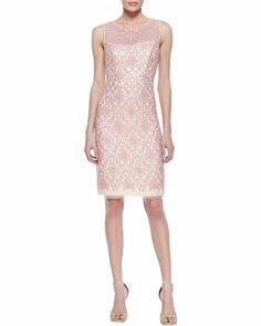 Kay Unger New York - Sleeveless Illusion Bodice Cocktail Dress, Pink