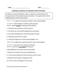 Underlining comparative and superlative adverbs worksheet more
