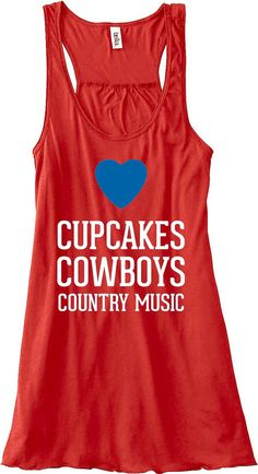 Cupcakes Cowboys and Country Music Tank Top Flowy Racerback Workout Work Out Custom Colors You Choose Size & Colors on Etsy, $24.00