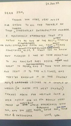 a handwritten letter Wes Anderson wrote to James L. Brooks.