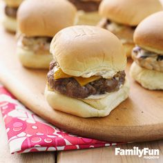 Pumped-Up Mini Burgers: Scaled down for little hands, these burgers deliver supersize taste, thanks to our mix of spices and sautéed onions.