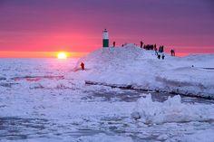 Winter Sunset over Lake Michigan in Holland, MI
