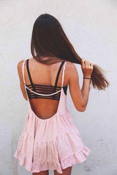styling a cute bralette under an open back dress/top