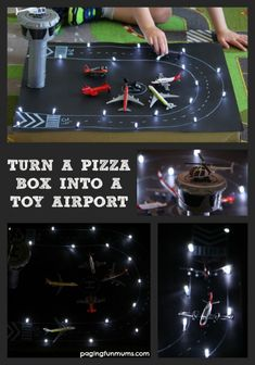 From Pizza Box to toy airpot (complete with landing lights!! FAB)