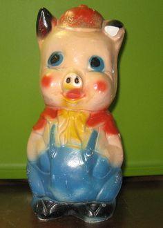 Vintage Carnival Chalkware Pig Bank