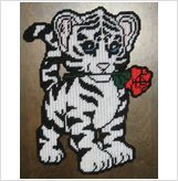 WHITE TIGER CUB PLASTIC CANVAS PATTERN