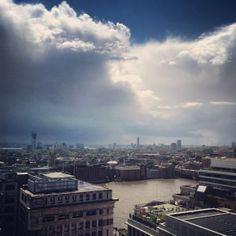 A view from The Monument as blue skies break through the cloud over London today 14°C I 57°F #BurberryWeather