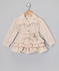 Beige Ruffle Trench Coat - Toddler & Girls