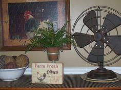 Old ragballs...tin and rusty fan....