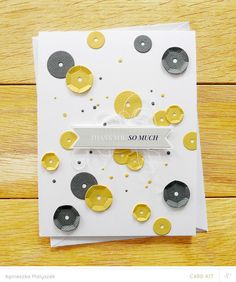Paper sequins (made using a die) - card by Agnieszka, at 'just made from paper'