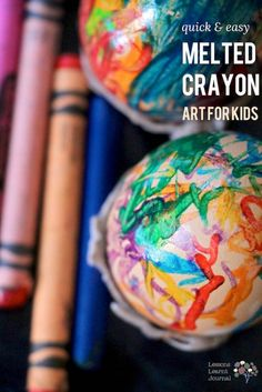A quick way to do melted crayon art. The crayons melt quickly and there's no need to grate crayons for crayon shavings. Easy to set up and clean. via Lessons Learnt Journal