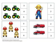 Students can practice their counting skills with this Community Helpers Count To 20 count and clip math center activity. Students will count the community helpers and clip a clothes pin on the correct number. Print out the pages on card stock and cut out the count and clip cards. Print out the pages on card stock, laminate, and cut out the count and clip cards. You will need 20 clothespins for this activity. Or, if you prefer, students can use dry erase markers to circle the correct number. .