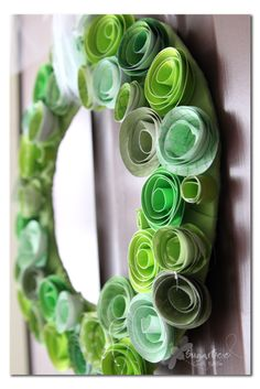 perfect wreath for St. Patrick's Day - just made from rolled paper - - St. Patty Wreath ~ Sugar Bee Crafts