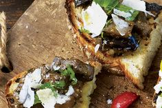 Grilled Bread with Eggplant & Basil