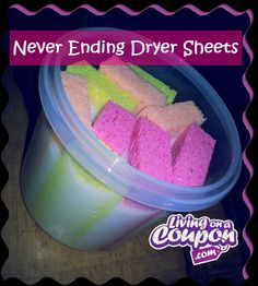 Mix 1 c fabric softener w 2 c water in a 1 qt container w an airtight lid.  Cut 4 sponges from dollar store in half.  Add sponges to soak in the mixture.  To use, squeeze excess liquid from 1 sponge. Toss in dryer w wet clothes.  Run dryer as normal.  Place dry sponge back in container for next time.  Clothes smell good, are soft & have no static just like dryer sheets.