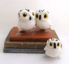 Needlefelted Snowy Owl in Natural White Felt Bird with Fluffy Face. , via Etsy.