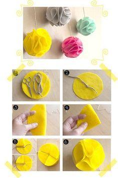 DIY Felt Pom Flower DIY Projects | UsefulDIY.com
