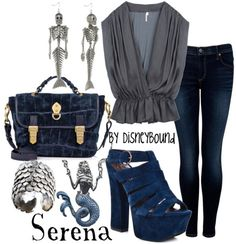 """Serena"" ~ Pirates of the Caribbean's fiery mermaid inspired this chic look. Designed by Leslie Kay or also known as the designer of Disneybound outfits. Can be found on Polyvore or her personal shop or  tumblr account."