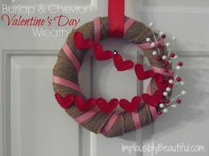 Burlap & Chevron Valentine's Day Wreath - Implausibly Beautiful