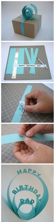 Birthday gift package decorations made of paper - could use this for holiday gifts, showers, etc.