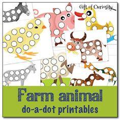 Free farm animal do-a-dot printables