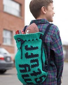 Lily Sugar'n Cream - 'My Stuff' Drawstring Bag (free crochet pattern)