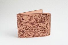 tailfeather x ghostpatrol kangaroo leather passwords wallet (natural) $110