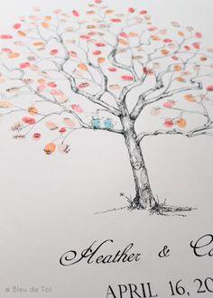 guest book fingerprint tree for shower