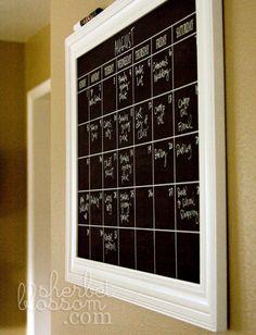 Chalk board calendar.