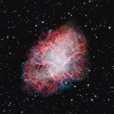 The first astronomical object cataloged by Charles Messier, M1 is perhaps better known as the Crab Nebula. It's a supernova remnant; its massive explosion visible to skygazers in the year 1054. At its center is a rapidly rotating pulsar - a neutron star - located about 6,500 light-years from Earth in the constellation Taurus.
