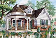 Only 33' wide, this one level Victorian cottage home plan has room for three bedrooms and a covered front porch.
