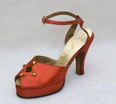 Satin platform evening shoes, 1940s, from the Vintage Textile archives.