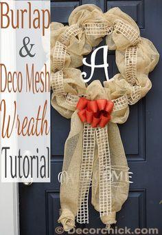 Burlap and Deco Mesh Wreath Tutorial | www.decorchick.com