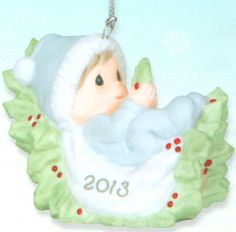 Precious Moments 2013 Dated Ornament Baby's First Christmas - Boy From the Annual Precious Moments Dated Christmas Collection. We invite you to Commemorate baby's first Christmas with this 2013 Dated Christmas Ornament. Perfect for the new baby boy in the family. This ornament is made of porcelain. $25.00 #PreciousMoments #Christmas