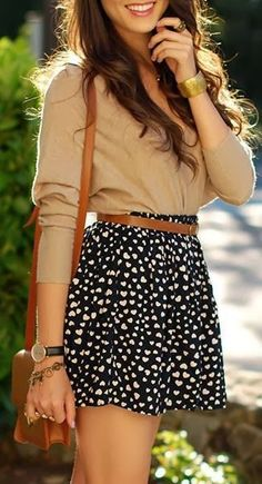 Heart Printed Belted Mini Skirt