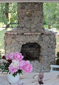 .Outdoor Cottage Fireplace