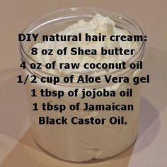 Natural hair care...I'm going to try it and let you know how it turns out! I already use Coconut oil on my hair, but it's not heavy enough.